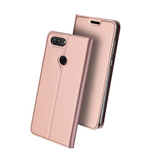 Huawei Honor 9 Lite Funda Ultra delgado,cierre magnético,Faux Cuero Billetera Funda para Huawei Honor 9 Lite con Stand Función(Oro) Oro rosa