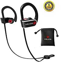 Bluetooth Headphones, Best Wireless Sport Earphones Hbuds H1 w/Mic IPX7 Waterproof HD Stereo in Ear Earbuds for Gym Running Working Out 9 Hour Battery Noise Cancelling Bluetooth Headsets (Black)