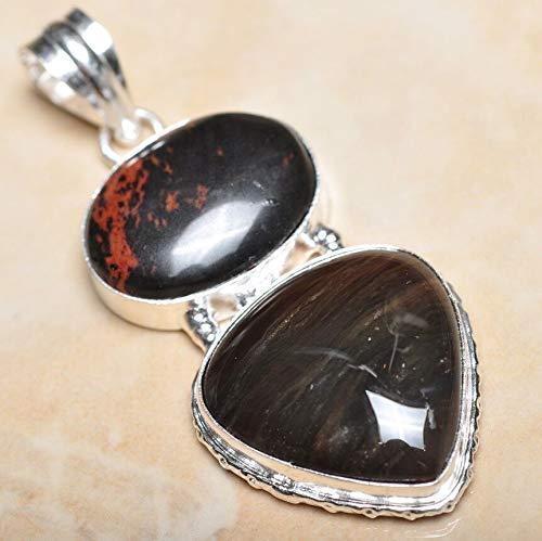 Handmade Natural Ocean Jasper Gemstone 925 Sterling Silver Pendant 2.5#KS-8206 ()