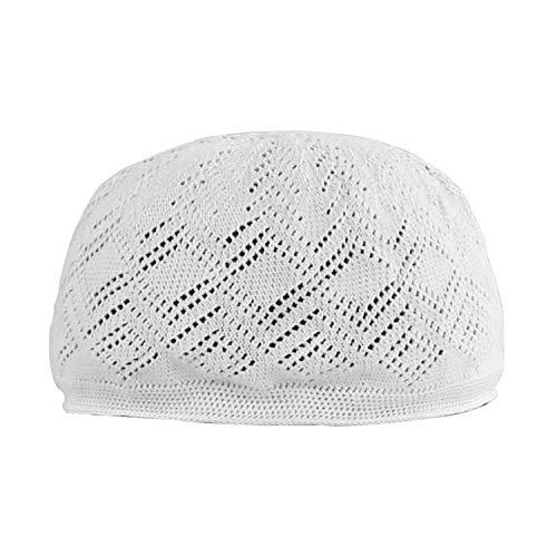 Gus Muslim Cotton Elastic Prayers Kufi Hat,Islam Skull Ventilation Night Cap for Men White