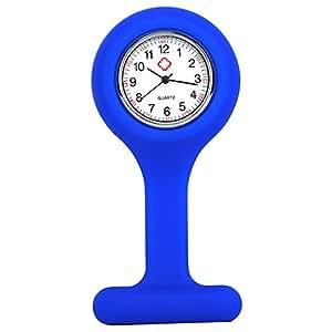 TRIXES Reloj de bolsillo para enfermería de silicona y con clip para colgar de la bata - Azul oscuro