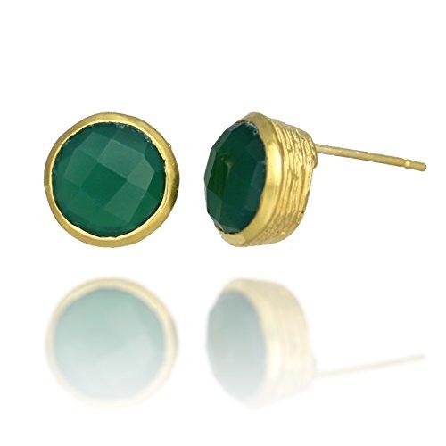 Gold Plated Simple Circle Gemstone Earrings