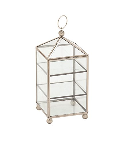 Deco 79 54291 2-Tiered Iron and Glass Jewelry Box, 11