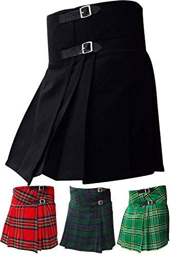 AAR Womens Ladies Plain Black Billie Kilt Skirt 16