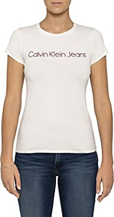 Calvin Klein Women's Luxe Archive Tee Shirt,White/Vanilla,X-Small
