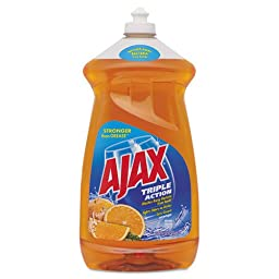 Ajax Dish Detergent, Liquid, Antibacterial, Orange, 52 oz, Bottle - six bottles of dish detergent.