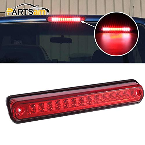 Partsam High Mount Led 3rd Brake Light Red Replacement for Chevrolet Silverado and GMC Sierra 1994-1999 C/K 1500 2500 3500 Rear Top Roof Cab Center Mount Third Brake Light Stop Tail Cargo Light Lamps