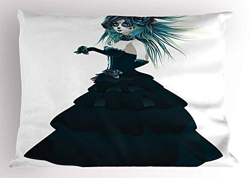 MTDKX Girls Pillow Sham, Sugar Skull Girl with Prom Dress Roses in Hand Gothic Halloween Lady Zombie Vampire, Decorative Standard Queen Size Printed Pillowcase, 30 X 20 inches, Teal -