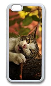 MOKSHOP Adorable funny cat bite Soft Case Protective Shell Cell Phone Cover For Apple Iphone 6 (4.7 Inch) - TPU White