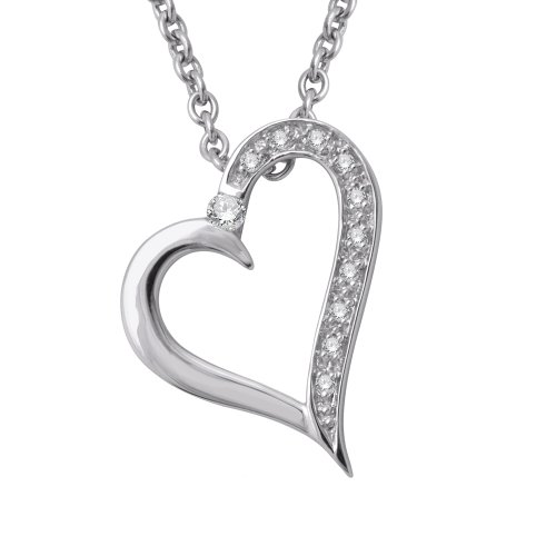925 Sterling Silver Heart Diamond Pendant Necklace (0.05 carat) (Silver Diamond Necklace Pave)