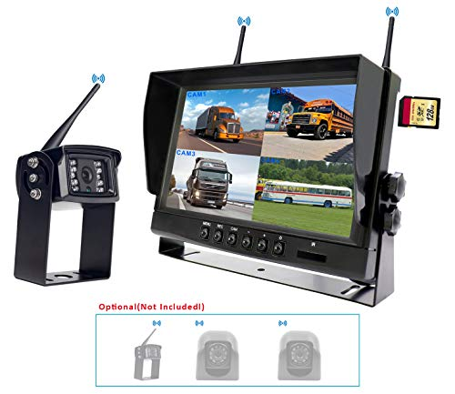 """(CAMONS Digital Wireless Backup Camera for RV, 9"""" Monitor Quad Split No Flicker, Built-in DVR, 120°HD Night Vision IP68 Waterproof Camera Rear/Side/Front with Mic &Remote Control)"""