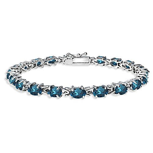 Sterling Silver Polished London Blue Topaz 6x4mm Oval-cut Link Tennis Bracelet by GemStar USA