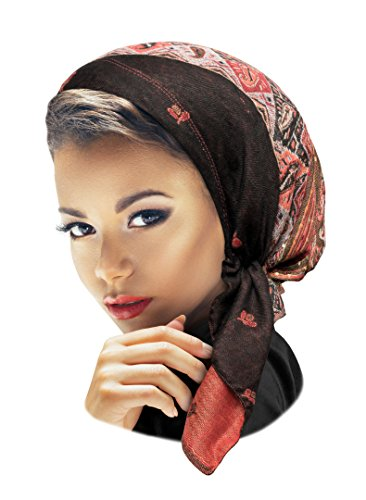 ShariRose Pre-Tied Boho Chic Headscarf Headwear Pashmina Cashmere Ethnic Print Collection Handmade (Black red Orange Short) ()