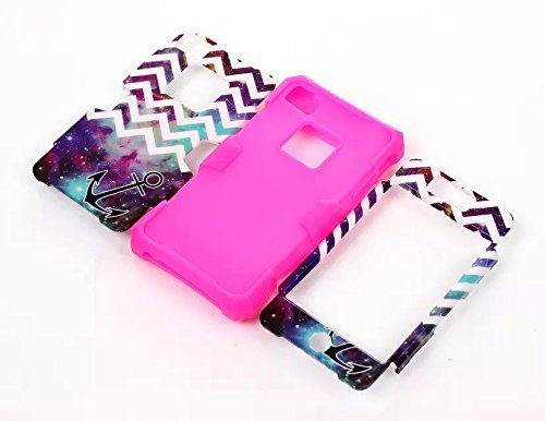 XYUN TM Glow in the Dark Nebula Anchor Waves Stripes Pattern 3in1 Plastic + Silicone Dual Layer Hybrid Glow in the Dark Case For Apple iPhone 4 4G 4S Case Include a XYUN Mobile Phone Cleaner Dust Plug Gift (Nebula Anchor Hot Pink)