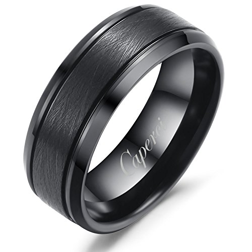 Caperci 8mm Black Tungsten Rings for Men Wedding Engagement Band Brushed Finish Beveled Comfort Fit Size (Contemporary Comfort Fit Wedding Ring)