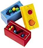: HABA Patience Blocks - 3 Wooden Puzzles with Balls or Discs Behind Plexiglass (Made in Germany)