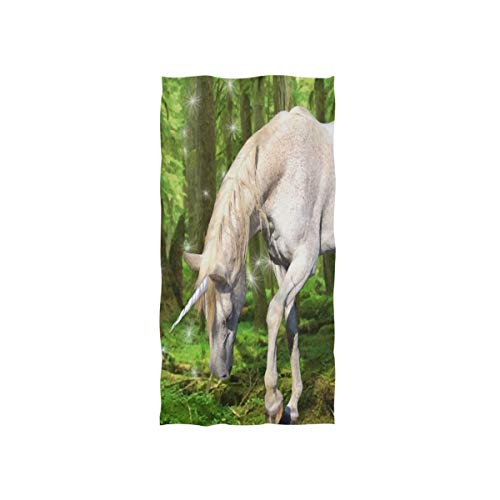 Pingshoes Unicorn in The Forest Hand Towels Ultra Soft Luxury Cotton Face Towel Washcloths for Home Kitchen Bathroom Spa Gym Swim Hotel Use
