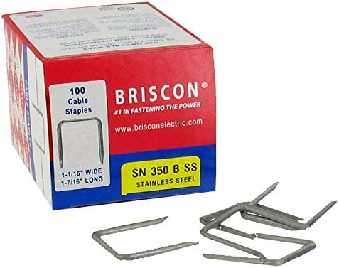 302 Stainless Steel Briscon SN 350 B Cable Staples 1-1//16WX1-7//16L Box 100
