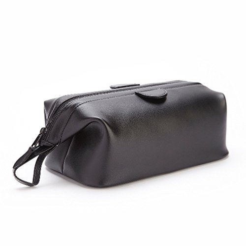 Royce Leather Travel Toiletry Bag in Leather, Black by Royce Leather