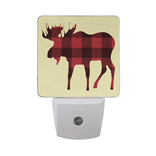 Buffalo Plaid Moose LED Night Light Lamp with Dusk to Dawn Sensor for Bedroom Bathroom Hallway Stairways
