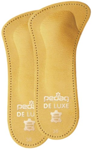 Pedag 123 De Luxe 3/4 Leather Orthotic with Metatarsal Pad, Longitudinal Arch Support, Tan, Women's 10/Men's 7
