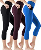 ATHLIO High Waist Yoga Pants with Pockets, Tummy Control Workout Leggings, Non See-Through Running Tights, Capri1 Pocket 3pack (ycp36) - Black/Plum/Blue, X-Small