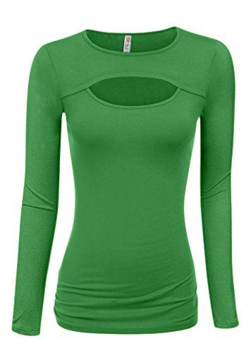 Green Ladies T-shirt (Simlu Green Moss Long Sleeve Top Womens Trendy Tops Keyhole Ladies T Shirt)