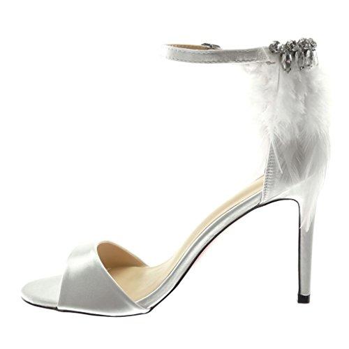 Angkorly Damen Schuhe Pumpe Sandalen - Stiletto - Knöchelriemen - Feder - Strass - String Tanga Stiletto High Heel 10 cm Weiß
