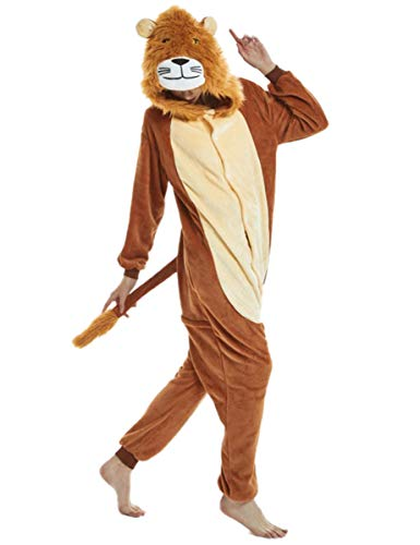 Animal Pajamas for Women Men Adult Onesie Unisex Sleepwear Halloween Cosplay Costume (XL, Lion) -