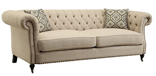 Sectional Sofa Asian (Coaster Trivellato Traditional Oatmeal Button Tufted Sofa with Large Rolled Arms and Nailheads)