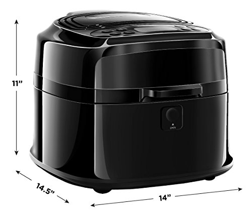 Chefman 6.8 Quart Fryer w/Rotisserie Function For The Perfect Fried Food Oil Programmable Air Roaster w/Cool-Touch Exterior, BPA-Free, Rack & Frying Pan Accessories, 1200W, 6.5 Liter