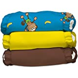 Charlie Banana 2-in-1 Reusable Diapering System, 3 Diapers plus 6 Inserts, Monkey Doo, One-Size