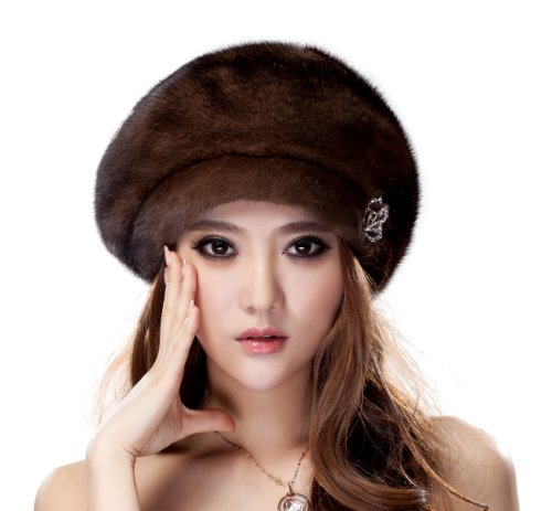 URSFUR Ladies Mink Fur Beret Hat (Coffee)