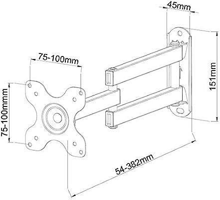 TradeMount Soporte de Pared para TV/Monitor de un Brazo Extensible de 7,8 cm a 38,8 cm orientable para Philips 32