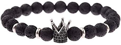 GMZPP Mode Männer Weiß Cz Crown Zirkon Armband Schwarz Matt Perlen Stein Elastische Armbänder & Armreifen AB686-2