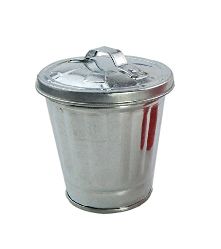 AITING Miniature Galvanized Metal Trash / Garbage Cans Garden flowerpot Pen holder (Silver)
