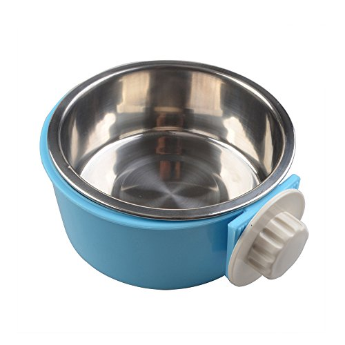 Geekercity Stainless Steel Pet Dog Bowl Removable Hanging Food Water Pets Cage Coop Cup Cat Puppy Birds Food Bowl with Bolt Holder