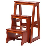 YD-Step stool Folding Stepladder Wood 3 Step Stool Adults...