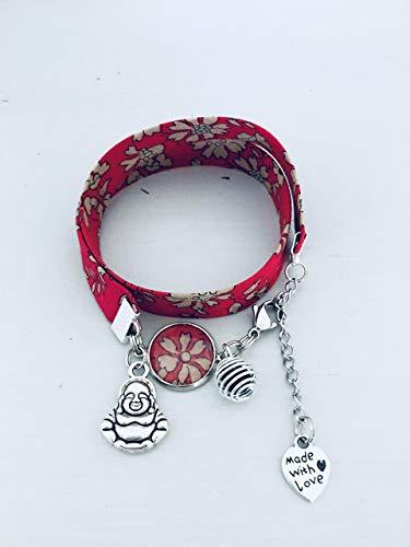 design intemporel 119ef 79bee Bracelet Liberty, Bracelet femme Liberty fleuri rouge avec ...