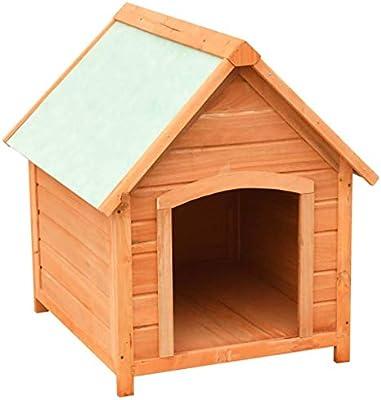 Festnight Casas de Perros para Jardín Madera Maciza de Pino y Abeto 72x85x82 cm Marrón y Verde: Amazon.es: Hogar
