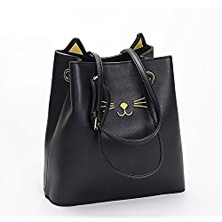 Cute Cat Ear Pu Leather Pouch Bucket Bag Shoulder Tote Bags Wallet for women and girls (Black)