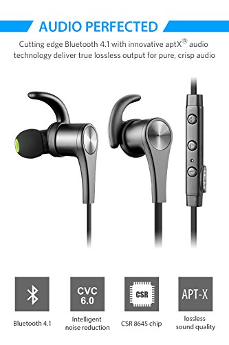 SoundPEATS Bluetooth Headphones In Ear Wireless Earbuds 4.1 Magnetic Sweatproof Stereo Bluetooth Earphones for Sports With Mic (Upgraded 8 Hours Play Time, Secure Fit, Noise Cancelling) - Q12 Black