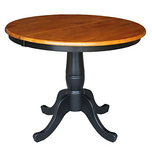 International Concepts 36-Inch Round Top Pedestal Table with 12-Inch Leaf, 30-Inch Standard Table Height, Black/Cherry