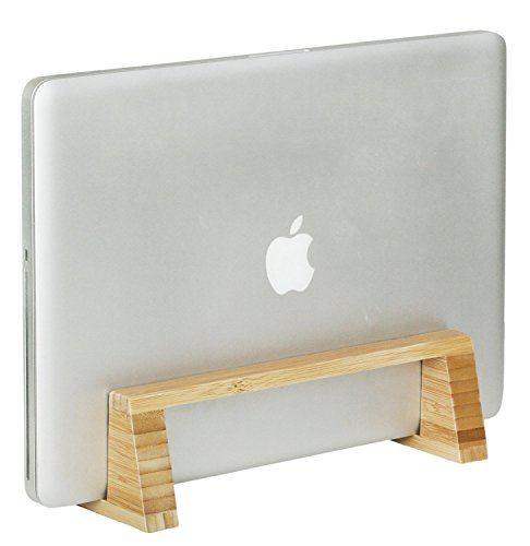 G.U.S. Eco-Friendly Bamboo Vertical Laptop Stand for Macbook and Dell For Desk, Kitchen, and Bedside - Universally Compatible, Up To 1' Thick