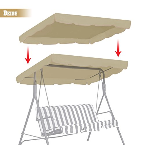 BenefitUSA Patio Outdoor 77″x43″ Swing Canopy Replacement Porch Top Cover Seat Furniture (Beige)