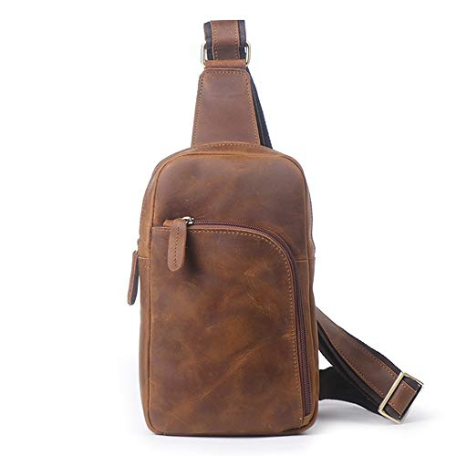 For Backpack Bag Travel Leather Crossbody Men;'s Chest Hiking Brown Daypack Bag Sling Shoulder Sport Brown Business Outdoor color qB8EwPxC