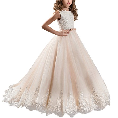 IBTOM CASTLE Girls Flower Lace Princess Graduation Communion Tulle Dress Long Pageant Gown Floor Length Prom Dance Evening