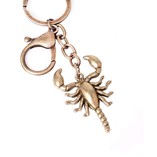 (Reddream Scorpion Statue Keychain Antique Copper Plated Solid Brass Figure Keyring Decor Vintage Pendant Charms for Jewelry Making Supplies)