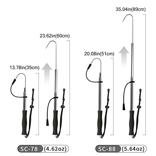 Good for Freshwater and Saltwater Fishing SAN LIKE Telescopic Fishing Gaff,Aluminum//Fiberglass Pole with Nonslip EVA Handle,Stainless Steel Hook Fish Gaff Can Float When Extending