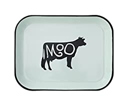 Creative Co-Op Enamel Tray with Cow Image